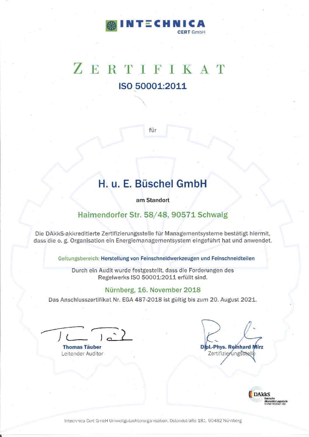 Zertifikat Energiemanagement ISO 50001:2011